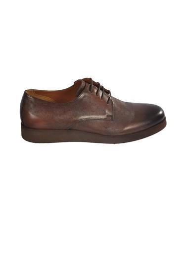 Luciano Bellini yuvarlak burun dikiş detaylı bağcıklı deri desenli erkek ayakkabı Kahve